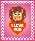 Valentin'es Day background with lion — Stock Vector