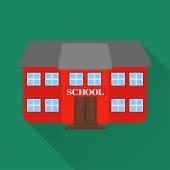 Flat design vector illustration.School building — Vector de stock