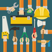 Builders Modern flat background with hand — Stock Vector