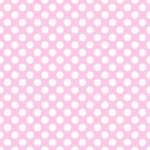 Seamless vector white polka dots pattern on pink background — Stock Vector
