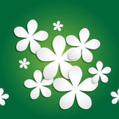 Abstract 3d paper flower vector pattern on green gradient background — 图库矢量图片