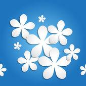 3d abstrait en papier motif vecteur de fleurs sur un fond dégradé bleu — Vecteur