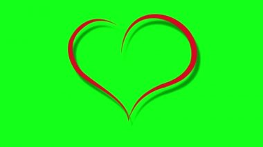 Animation heart on a green background — Stock Video