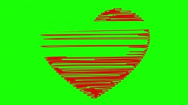 Hand drawn heart on a green background — Stock Video