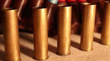 Shotgshotgun and cartridges — Stockvideo