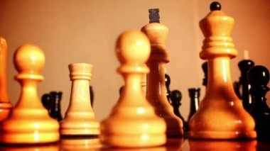 Chess pieces on a chess board . — Stock Video