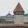 View of the old town of Lucerne, the chapel bridge, Switzerland — Stock Photo #64004885