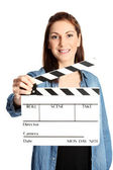 Attractive movie worker — Стоковое фото