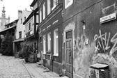 Gdansk residential backyard. Artistic look in black and white. — Stock Photo