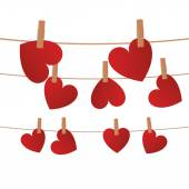 Hearts on a rope with clips  — Stock Vector