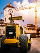 Road roller at construction site  — Stock Photo