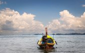 Wooden motor boat on the sea — Stock Photo