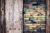 Wooden plank on the wall background — Stock Photo