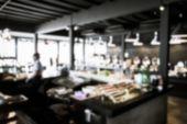 Rozmazané bufetová restaurace s různými potravin — Stock fotografie