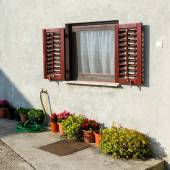 Old traditional window with open wooden shutters and flowers — Foto Stock
