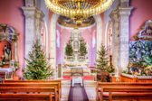 HDR image of the interior of the old church at Christmas — Stock Photo