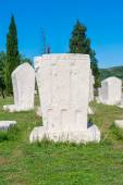 Monumental medieval tombstone in Stolac, specific for Herzegovina — Stock Photo