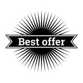 Monochromatic vintage sales sign. Minimalistic design — Stock Vector