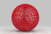 Sphere made of smaller spheres connected by strands. 3D render i — Stock fotografie