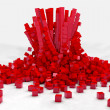 Explosion of field of red cubes. 3D render image — Stock Photo #76883681