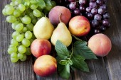 Ripe fruits  on wooden  table — Foto Stock