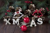 Christmas composition with holiday decoration — Foto Stock