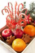 Christmas sweets with holiday decoration — Stock Photo