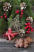 Christmas still life with bright symbols — Stock Photo