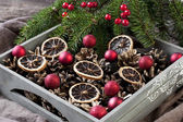 Christmas composition with holiday decoration — Stock Photo