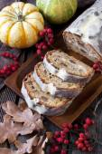 Carrot and walnut cake with marzipan icing — Stock Photo