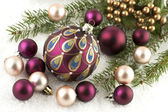 Christmas still life with colorful balls — Stock Photo
