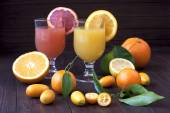 Fresh juice mix fruit, healthy drinks on wooden table — Stock Photo