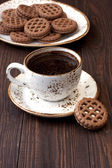 Coffee cup with cookies  on table — Stock Photo