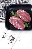 Raw fresh meat on pan — Stock Photo