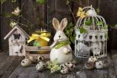 Vintage easter decoration with eggs and rabbit . — Stock Photo