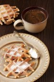 Belgian waffles  and  coffee cup — Stock Photo