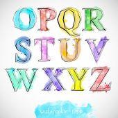 Watercolor background colorful alphabet. — Stockvektor