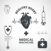 Элементы медицины здоровья сердца — Cтоковый вектор