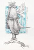 Surreal hand drawing, portrait decorative artwork  - Cebanenco Stanislav — Stock Photo