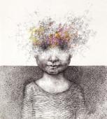 Surreal hand drawing of a boy from stardust decorative artwork  - Cebanenco Stanislav — Stock Photo