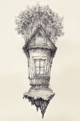 Surreal hand drawing of a small house, decorative artwork  - Ceb — Stock Photo