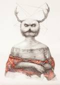 Surreal hand drawing of a lady owl, decorative artwork  - Cebanenco Stanislav — Stock Photo