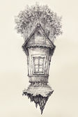 Surreal hand drawing of small house — Stock Photo