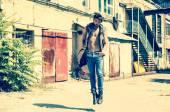 Handsome man model dressed punk — Stock Photo