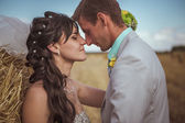Beautiful bride and groom portrait in nature — Stock Photo