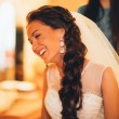 Beautiful young bride with wedding makeup and hairstyle in bedroom, newlywed woman final preparation for wedding. Happy Bride waiting groom. Marriage Wedding day moment. portrait soft focus — Stock Photo #59539345