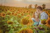 Beau couple s'amuser dans les champs de tournesols — Photo
