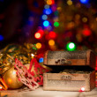 Treasure chest with Christmas decorations — Stock Photo #60005911