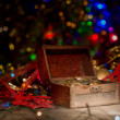 Treasure chest with Christmas decorations — Stock Photo #60005913