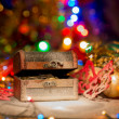 Treasure chest with Christmas decorations — Stock Photo #60005915